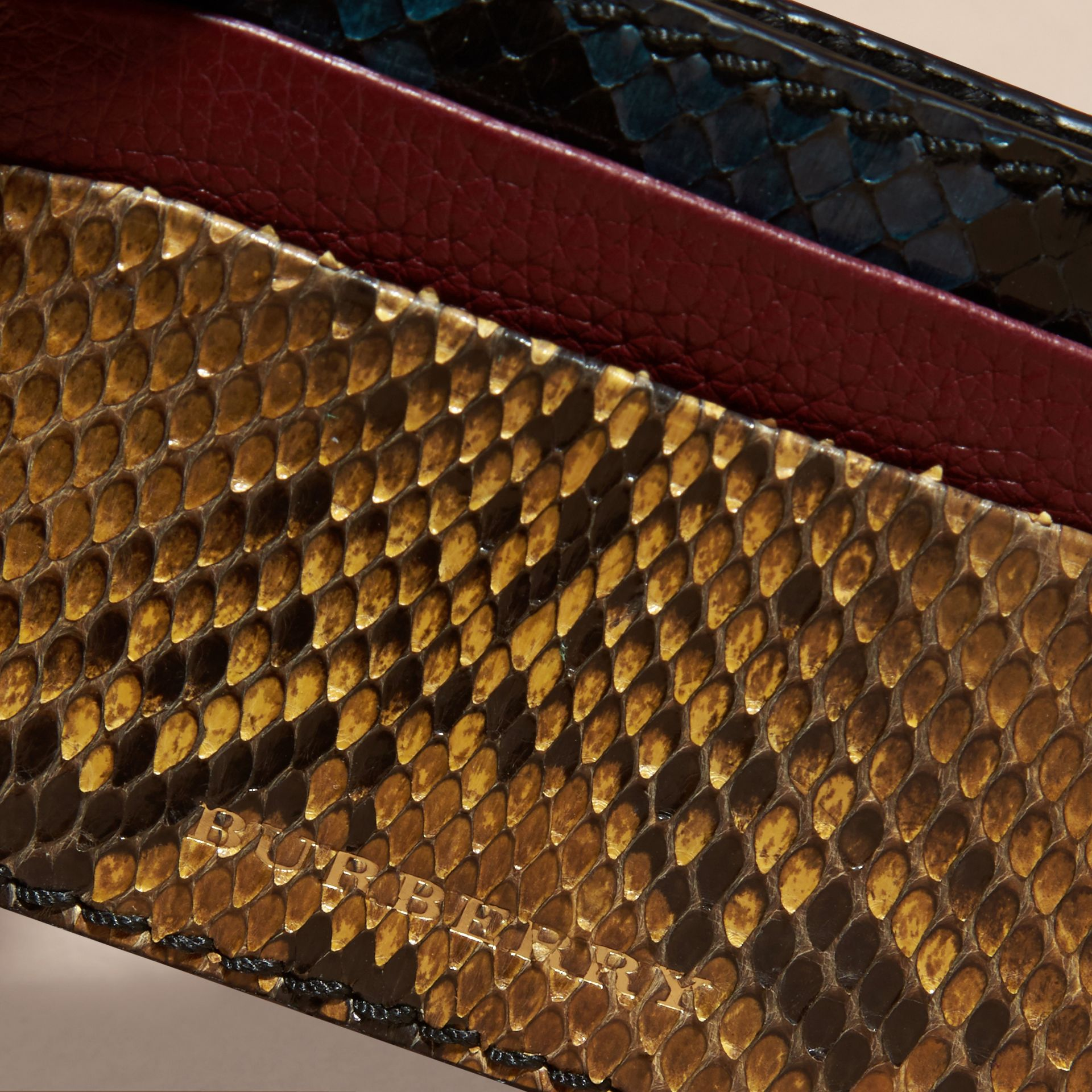 Elderberry Colour Block Snakeskin and Leather Card Case Elderberry - gallery image 2