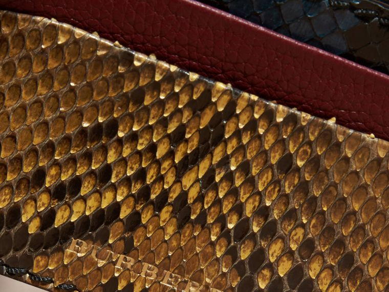 Elderberry Colour Block Snakeskin and Leather Card Case Elderberry - cell image 1