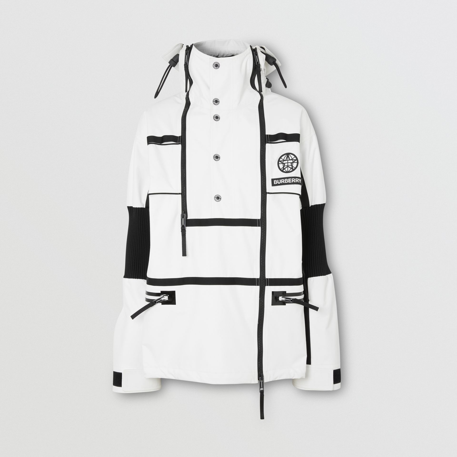 Globe Graphic Nylon Reconstructed Track Jacket in Optic White | Burberry - gallery image 3