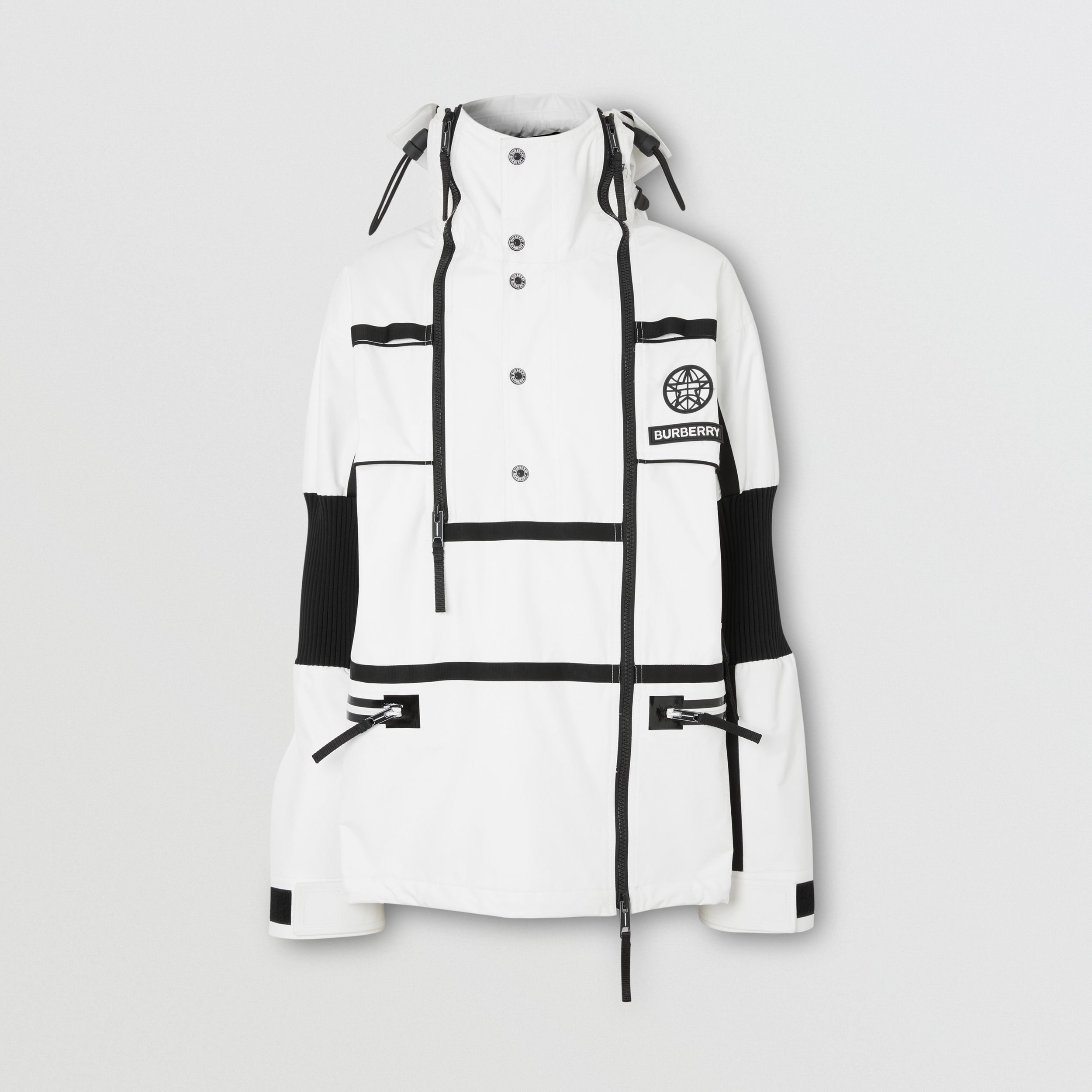 Globe Graphic Nylon Reconstructed Track Jacket in Optic White - Men | Burberry - 4
