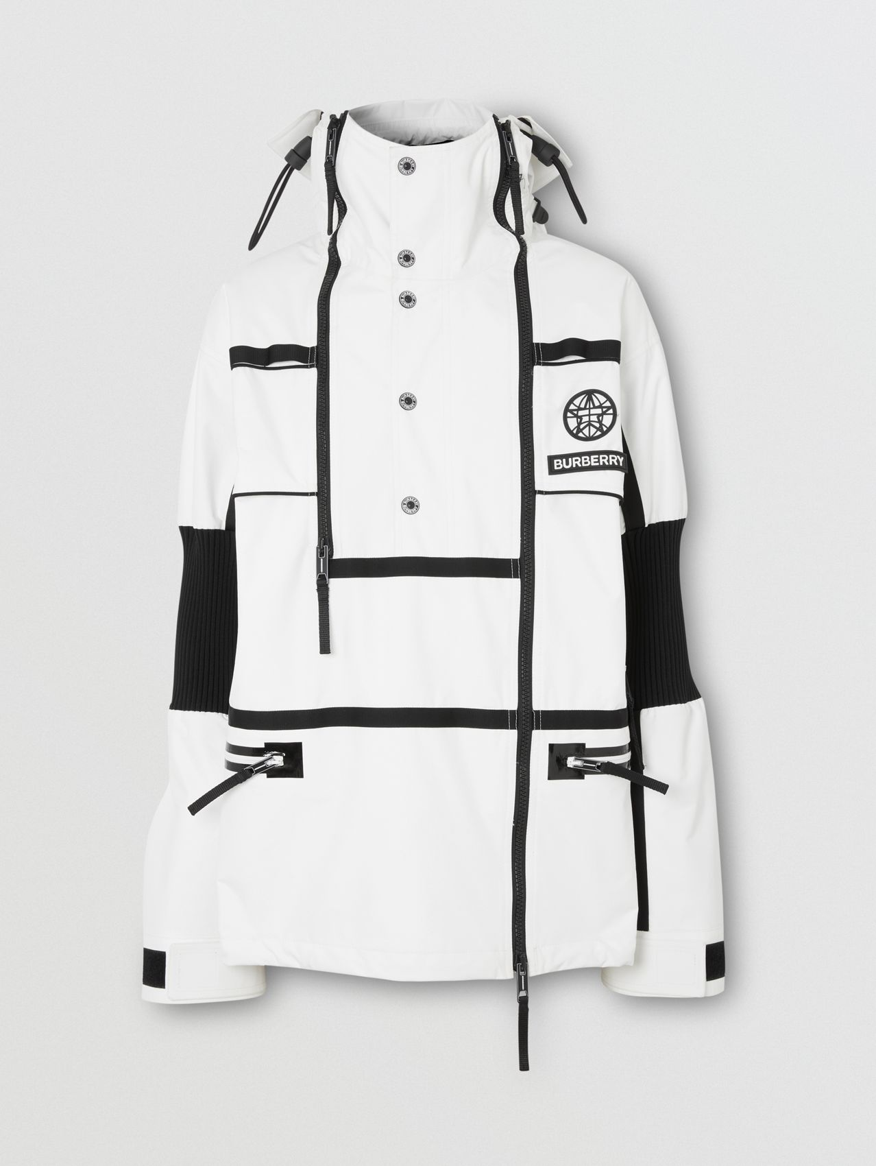 Globe Graphic Nylon Reconstructed Track Jacket in Optic White