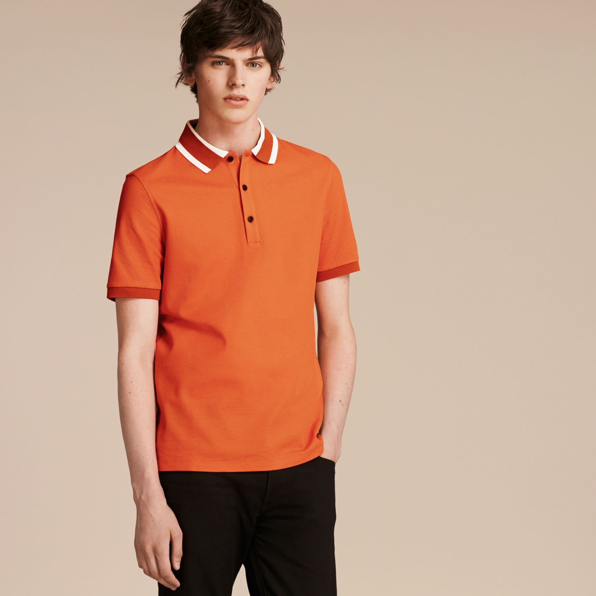 Striped Collar Cotton Piqué Polo Shirt Clementine - gallery image 6
