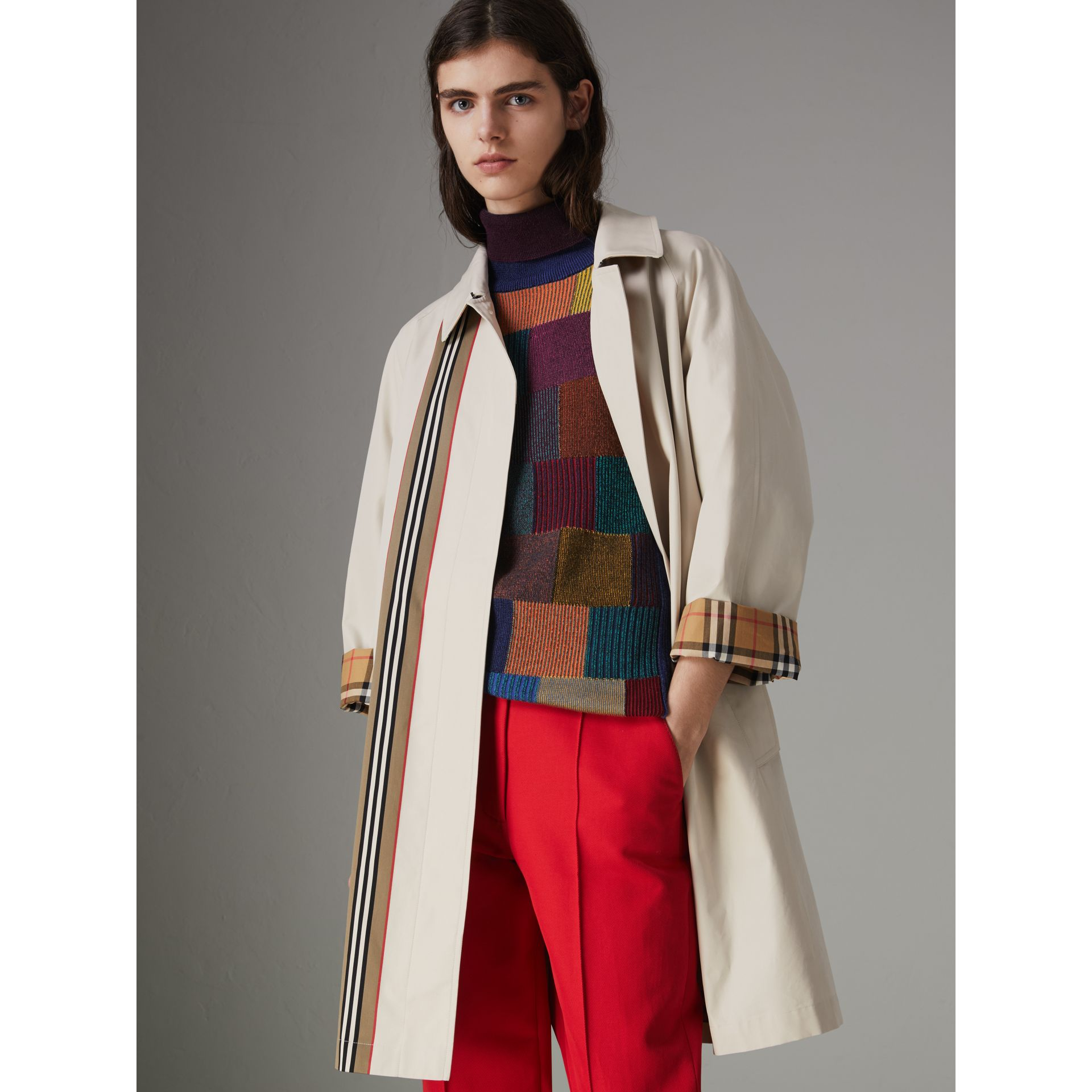 Striped Ribbon Cotton Gabardine Car Coat in Stone - Women | Burberry Australia - gallery image 6