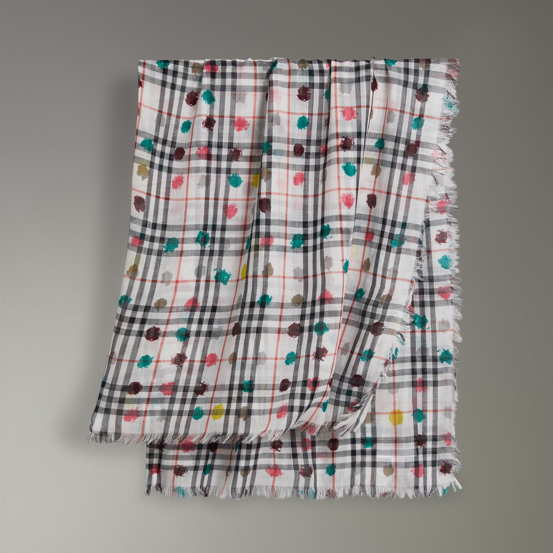 Dot Print and Vintage Check Cotton Square – Large in White | Burberry - gallery image 0