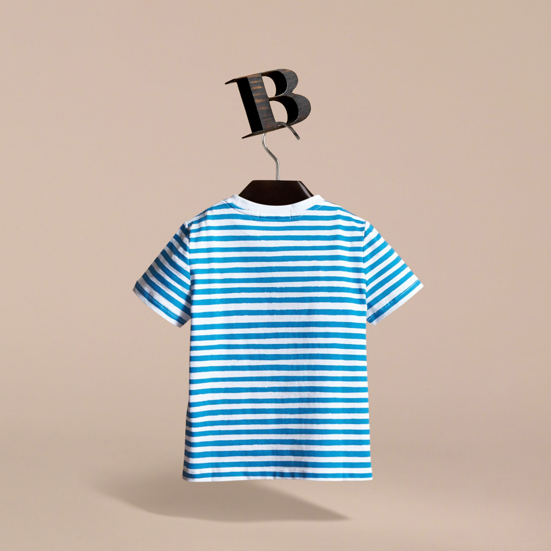 Pallas Heads Print Striped Cotton T-shirt in White - Boy | Burberry - gallery image 4