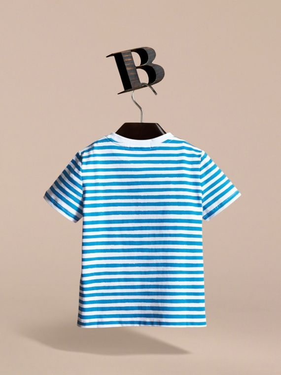 Pallas Heads Print Striped Cotton T-shirt in White - Boy | Burberry - cell image 3