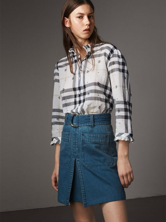 Ruffle Detail Floral Print Check Cotton Shirt - Women | Burberry Singapore