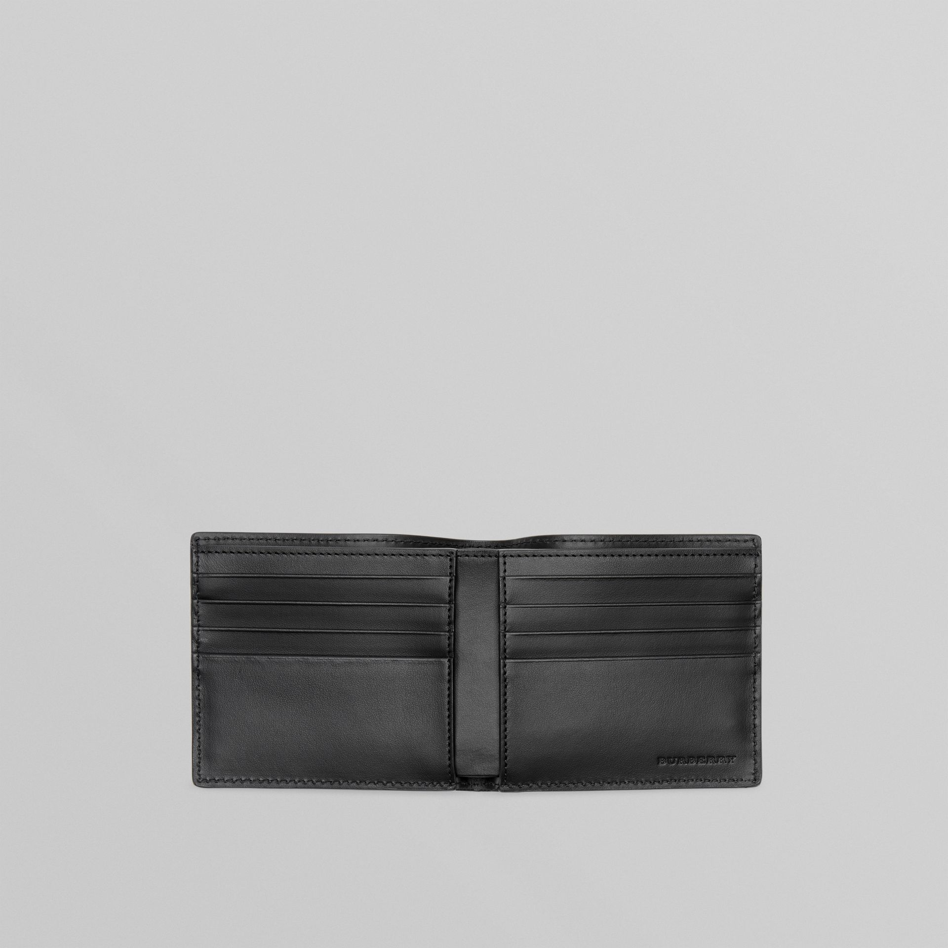 Perforated Logo Leather International Bifold Wallet in Black - Men | Burberry Canada - gallery image 3