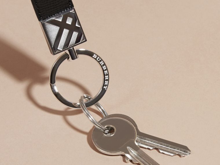Black London Leather Key Ring Black - cell image 2