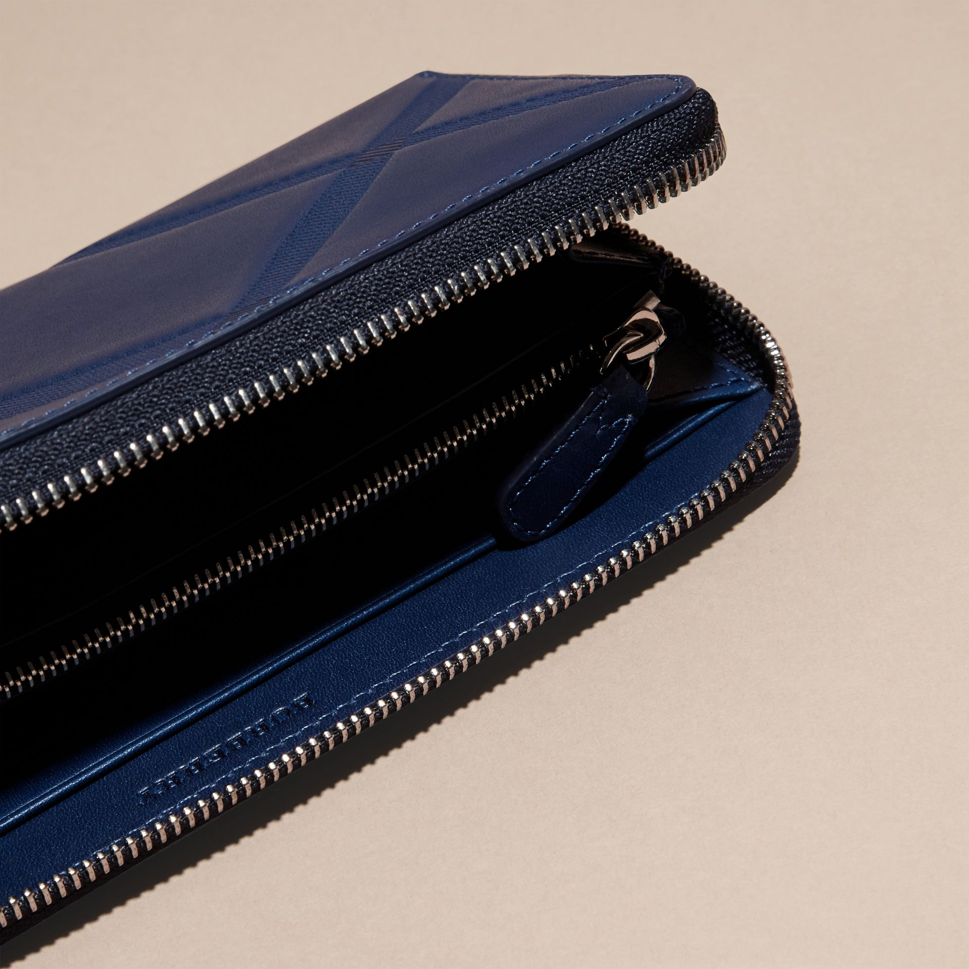 Lapis blue Check-embossed Leather Ziparound Wallet Lapis Blue - gallery image 5
