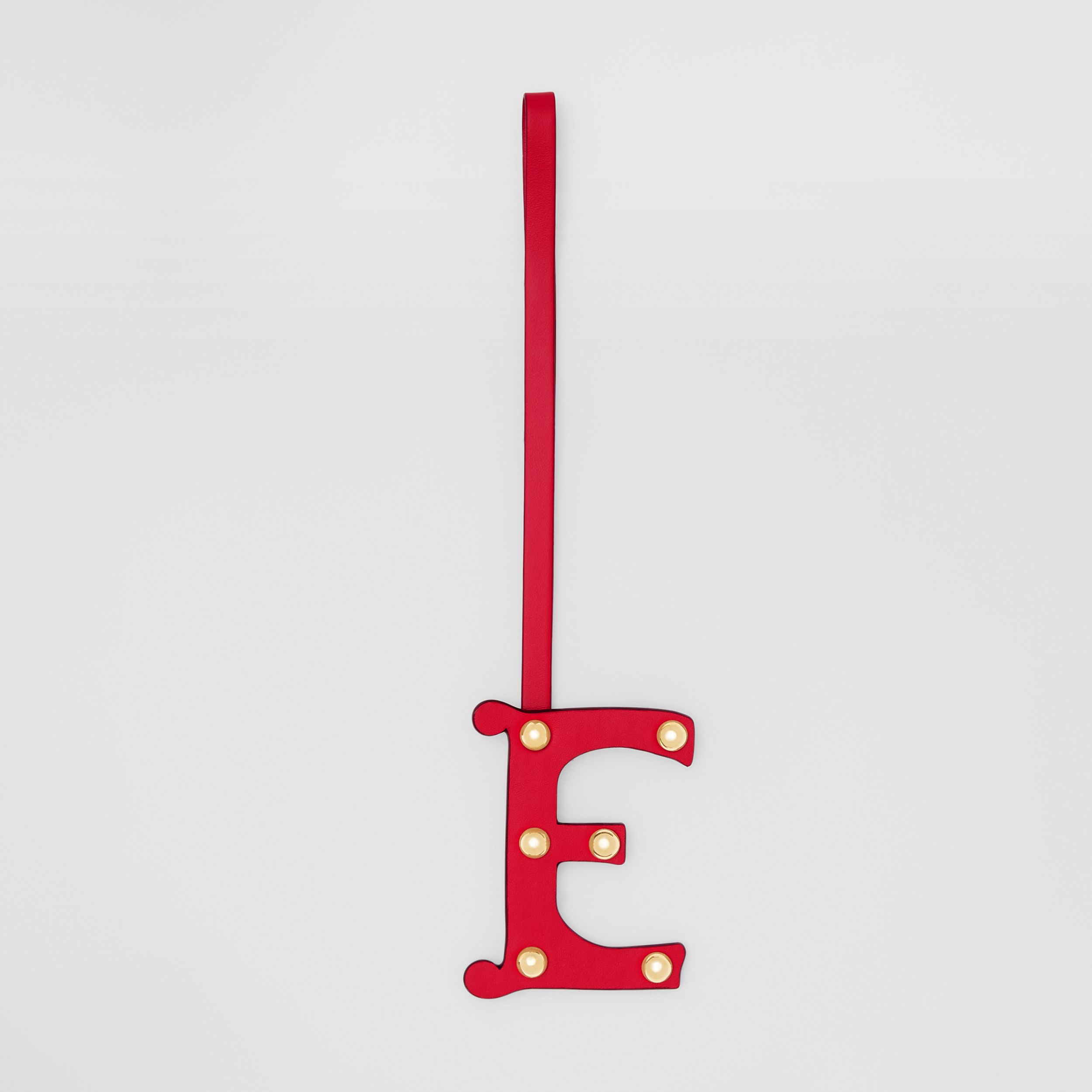 'E' Studded Leather Alphabet Charm in Red/light Gold | Burberry - 1