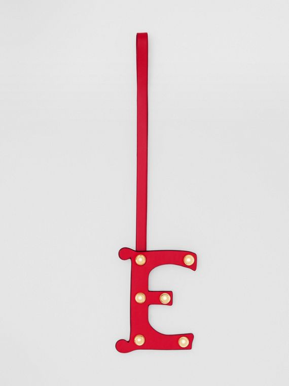 'E' Studded Leather Alphabet Charm in Red/light Gold