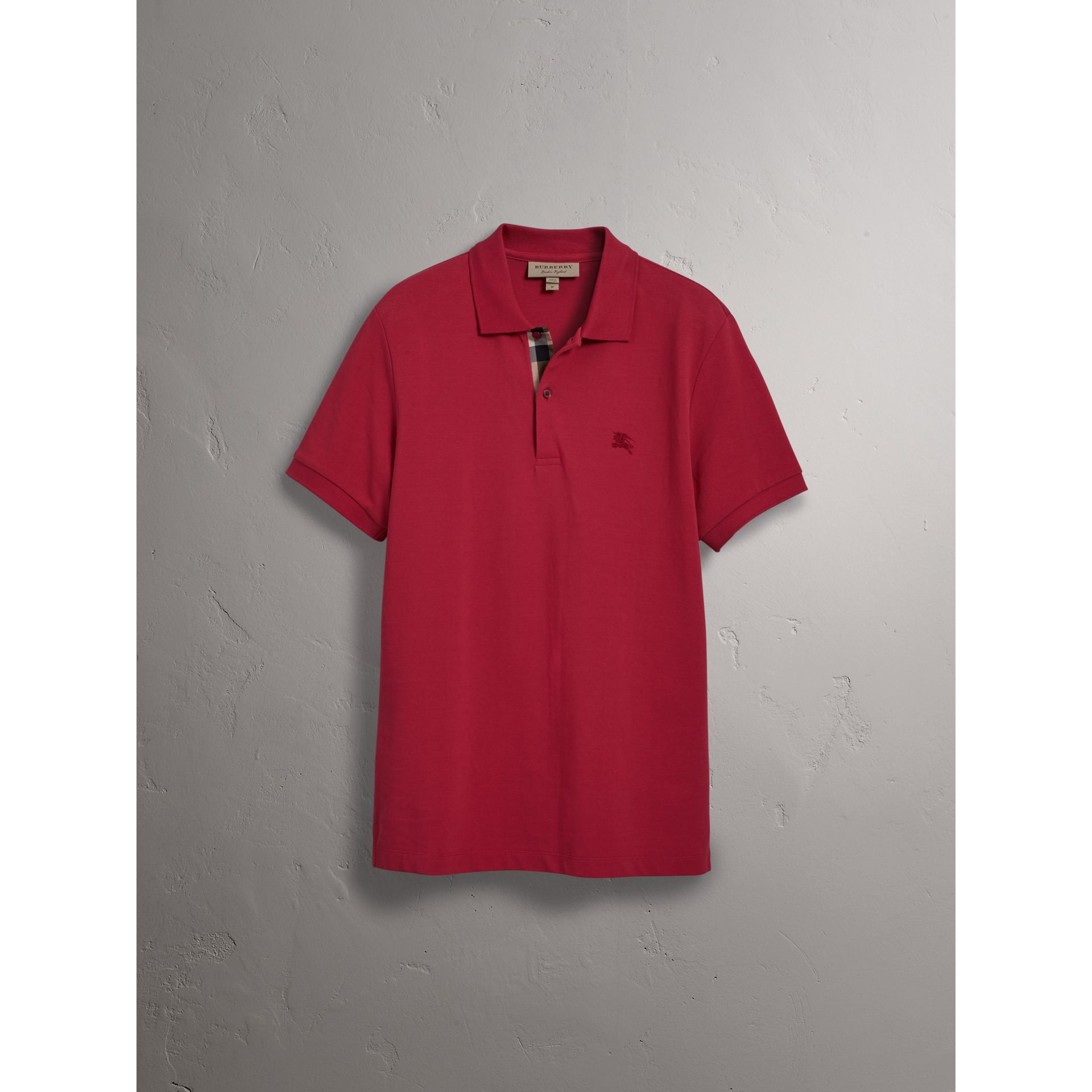 Check Placket Cotton Piqué Polo Shirt in Coral Red - Men | Burberry United Kingdom - gallery image 3