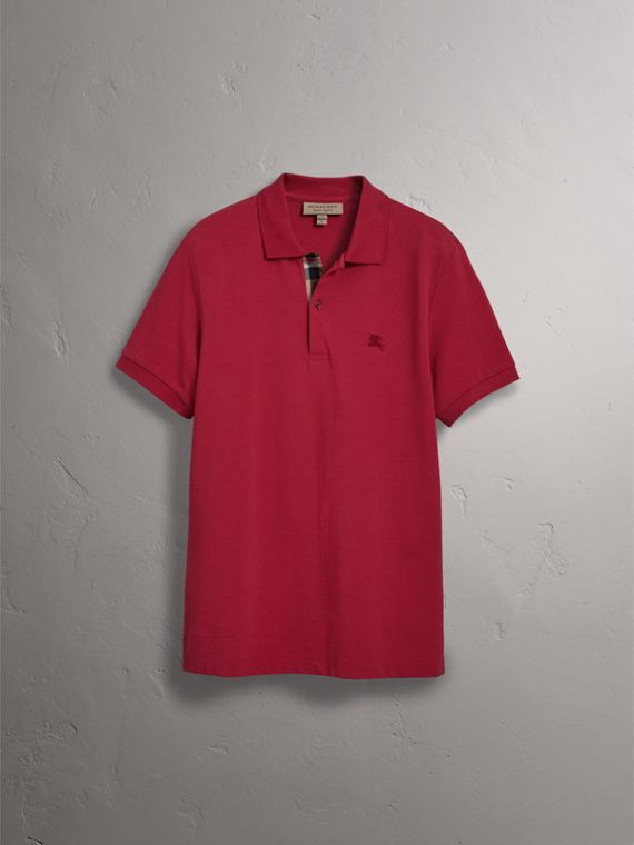 Check Placket Cotton Piqué Polo Shirt in Coral Red