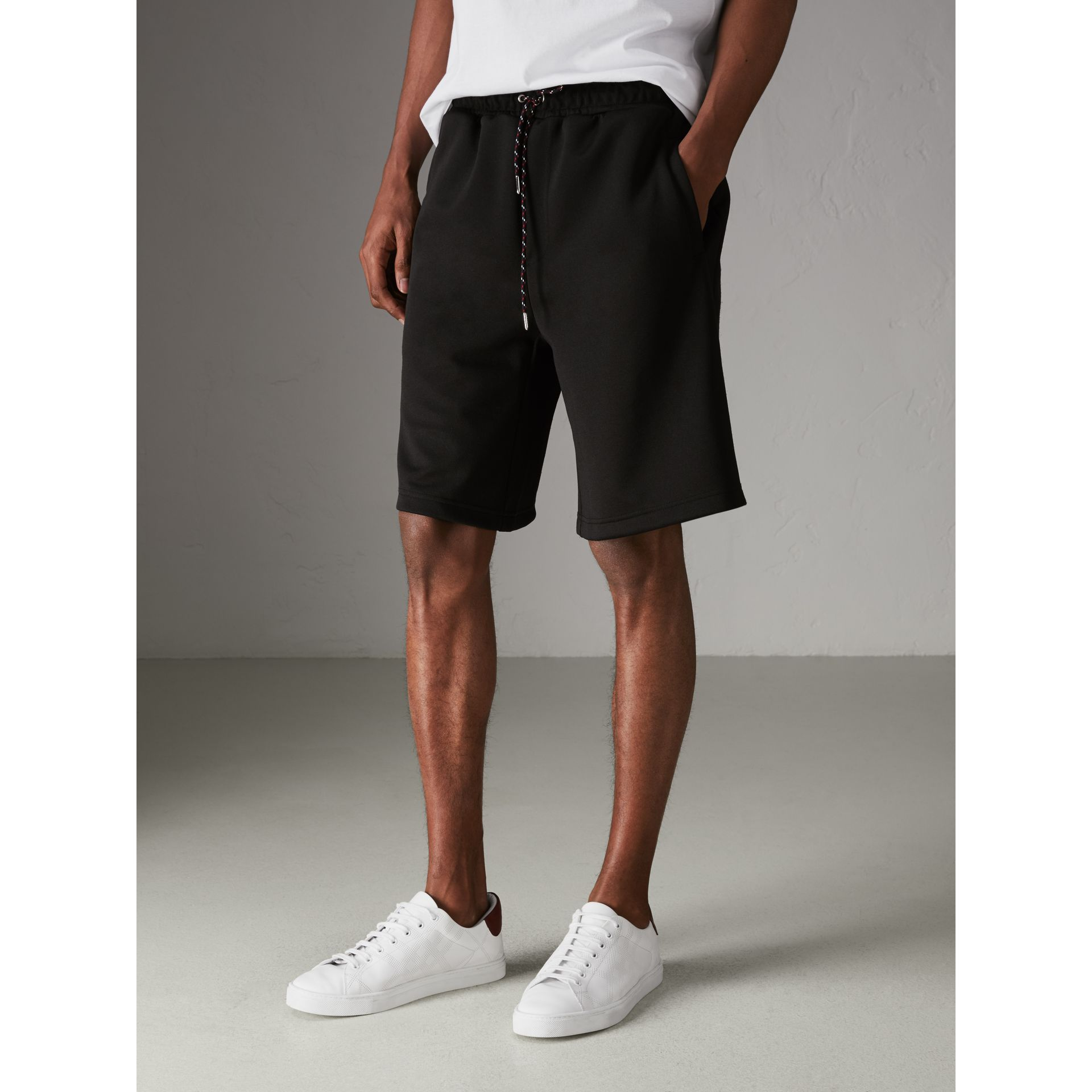 Cotton Blend Drawcord Shorts in Black - Men | Burberry - gallery image 4