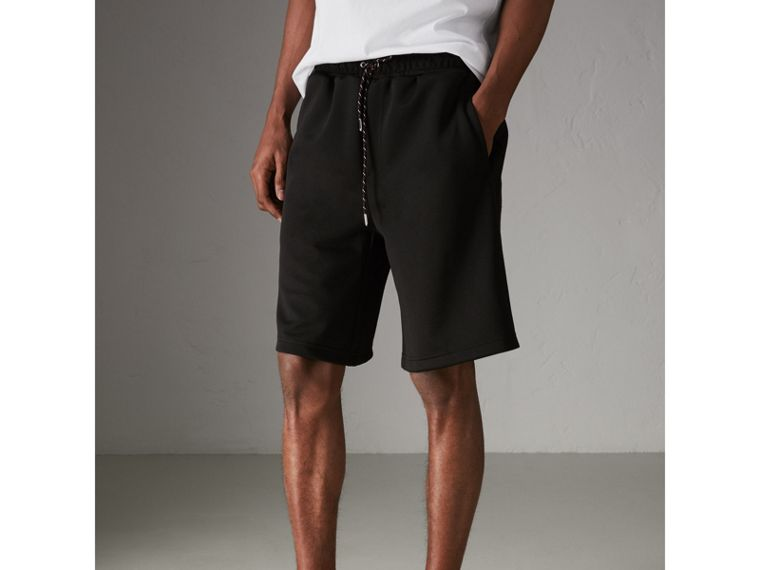Cotton Blend Drawcord Shorts in Black - Men | Burberry - cell image 4