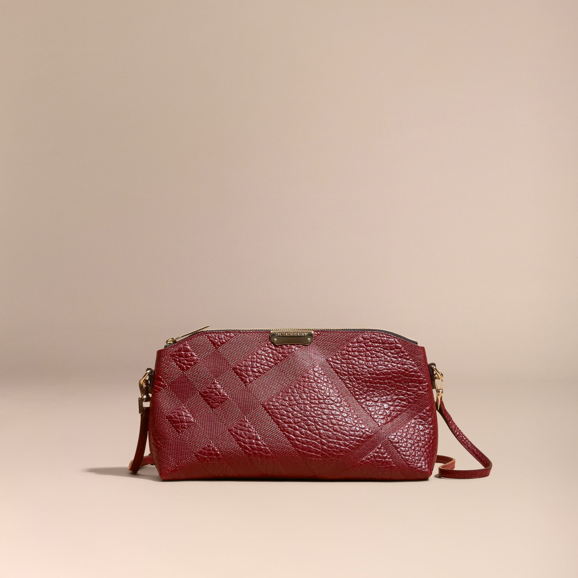 Deep red Small Embossed Check Leather Clutch Bag Deep Red - gallery image 9
