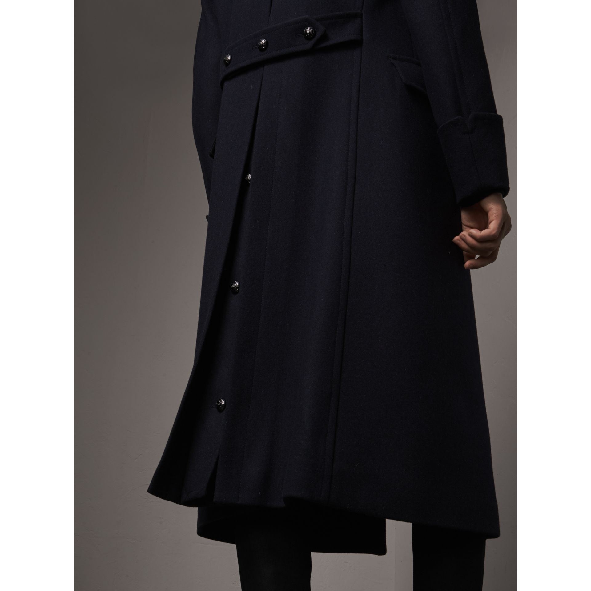 Detachable Mink Collar Wool Greatcoat in Navy - Men | Burberry Singapore - gallery image 5