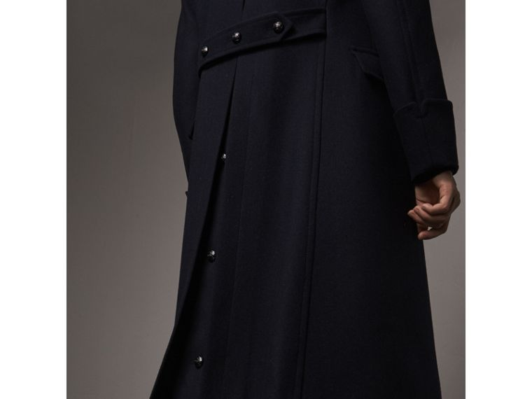 Detachable Mink Collar Wool Greatcoat in Navy - Men | Burberry Singapore - cell image 4