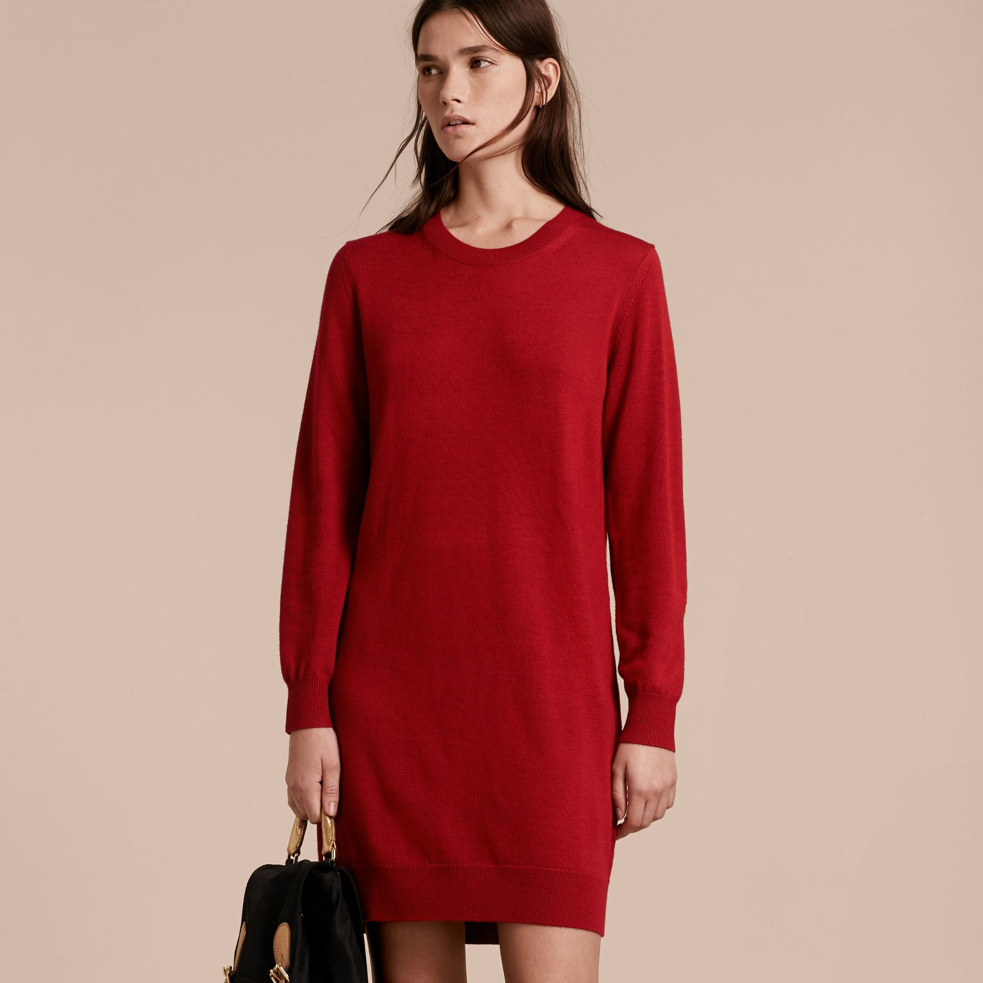 Check Elbow Detail Merino Wool Sweater Dress in Parade Red - gallery image 6