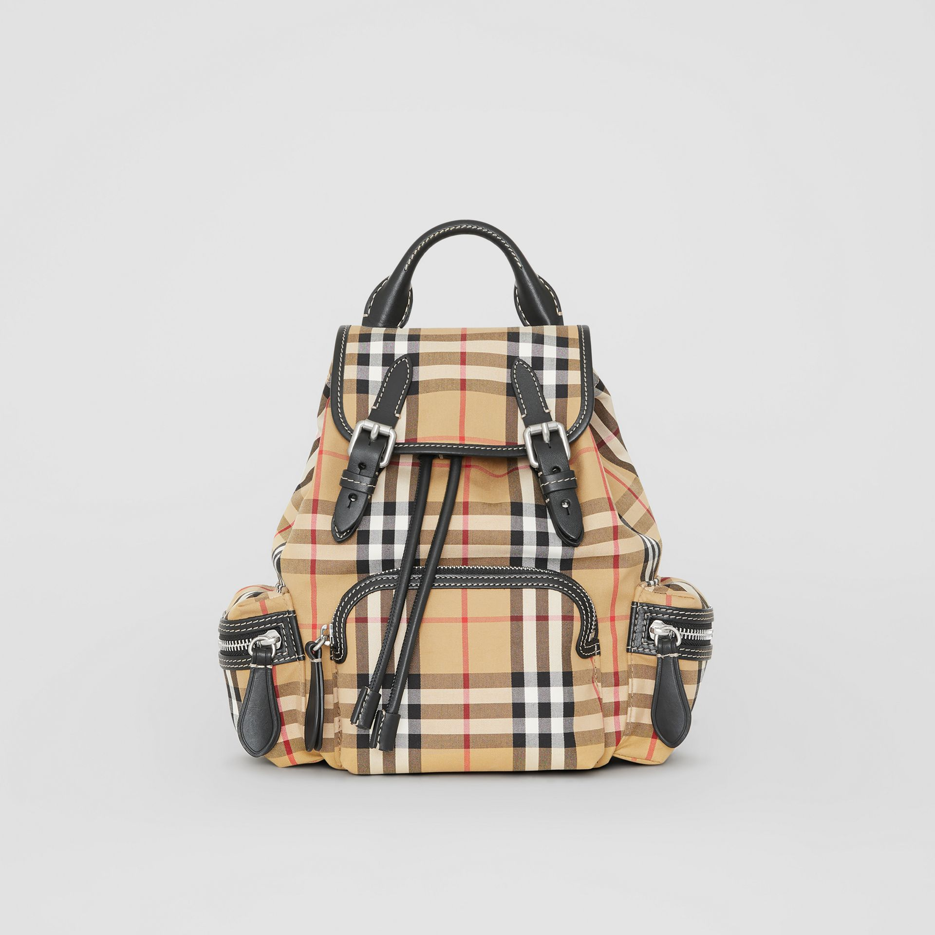 The Small Rucksack in Vintage Check and Leather in Antique Yellow - Women | Burberry Singapore - gallery image 4