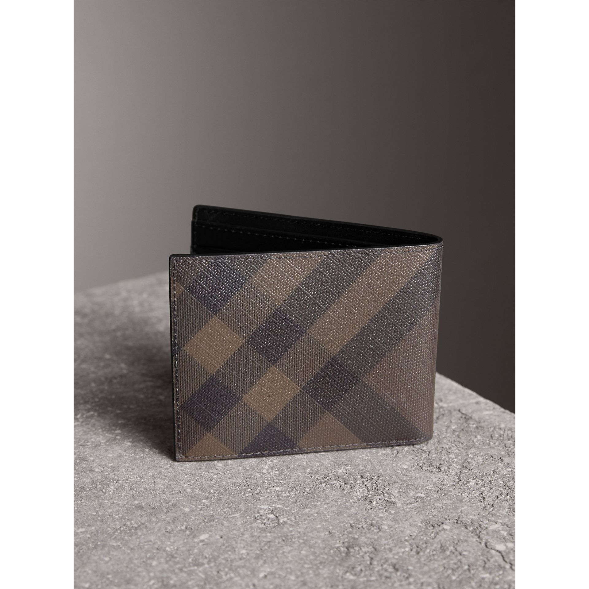 London Check and Leather Bifold Wallet in Chocolate/black - Men | Burberry Australia - gallery image 3