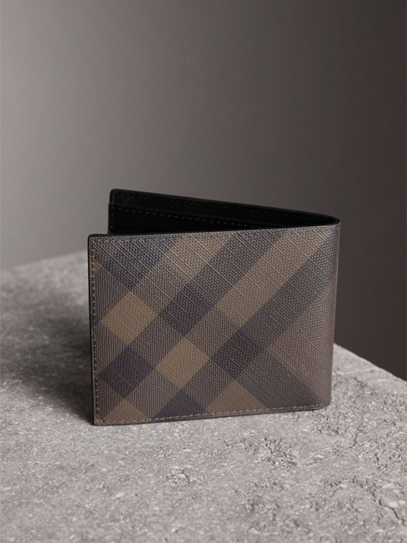 London Check and Leather Bifold Wallet in Chocolate/black - Men | Burberry - cell image 2