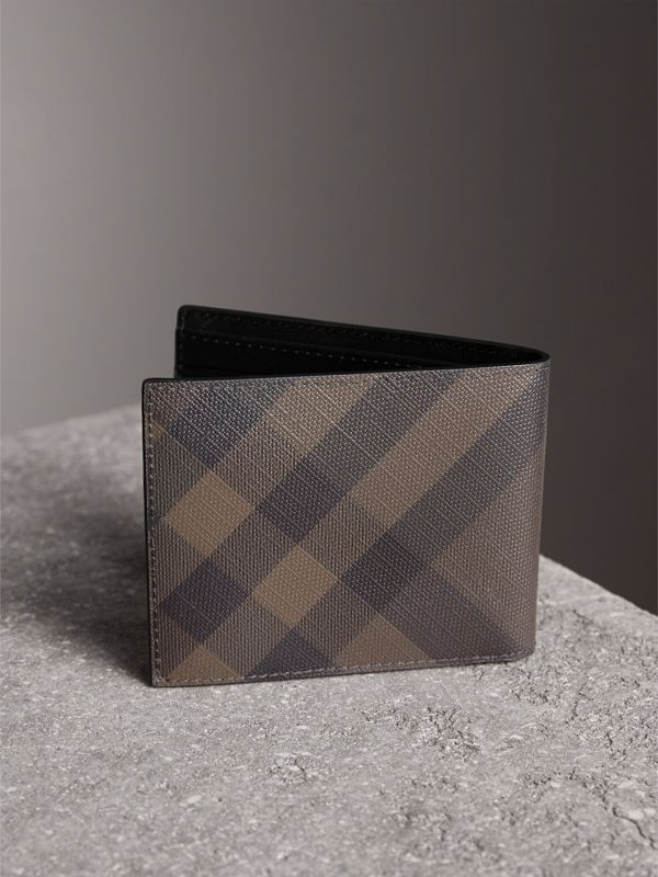 London Check and Leather Bifold Wallet in Chocolate/black - Men | Burberry United Kingdom - cell image 2