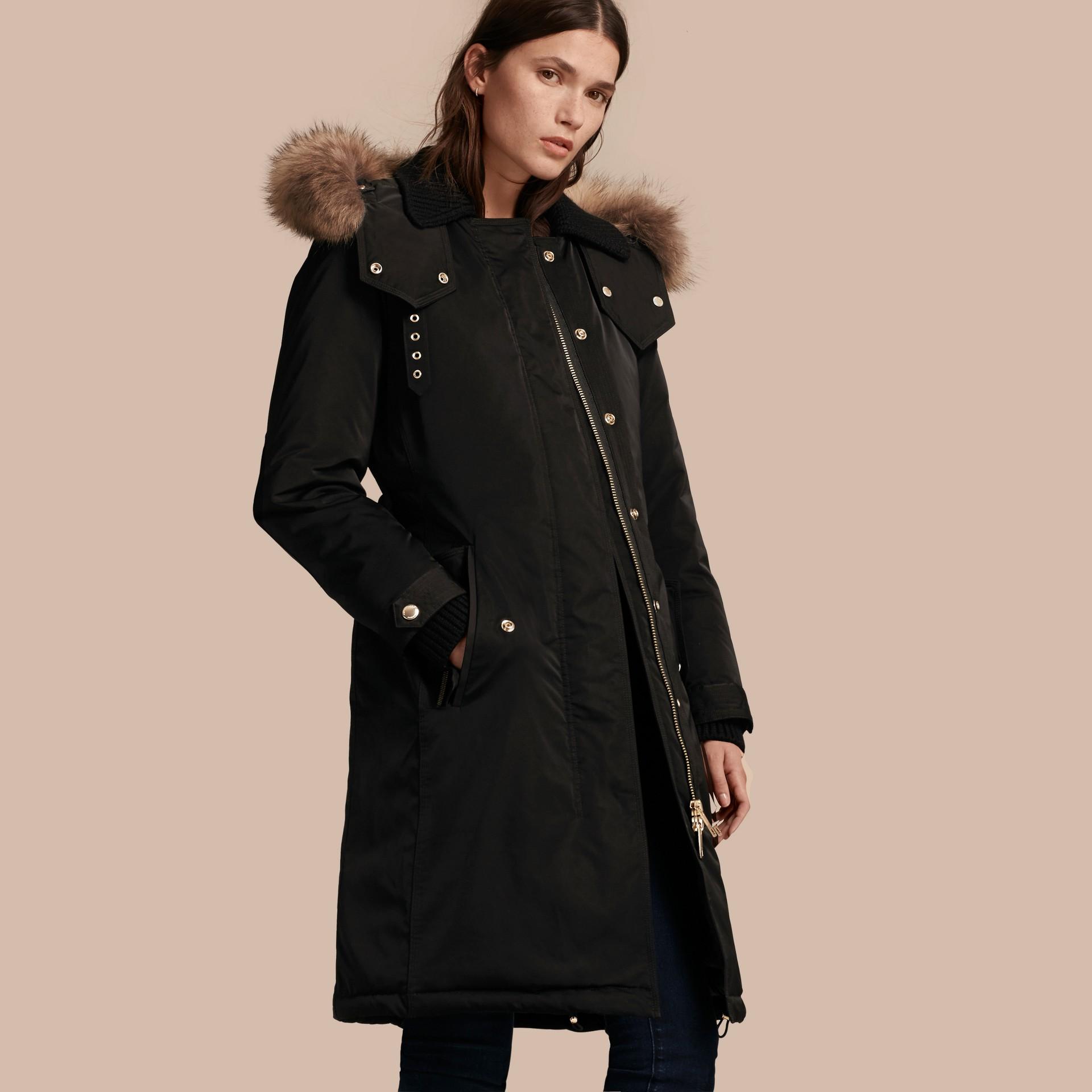 Black Down-filled Parka Coat with Detachable Fur Trim Black - gallery image 1