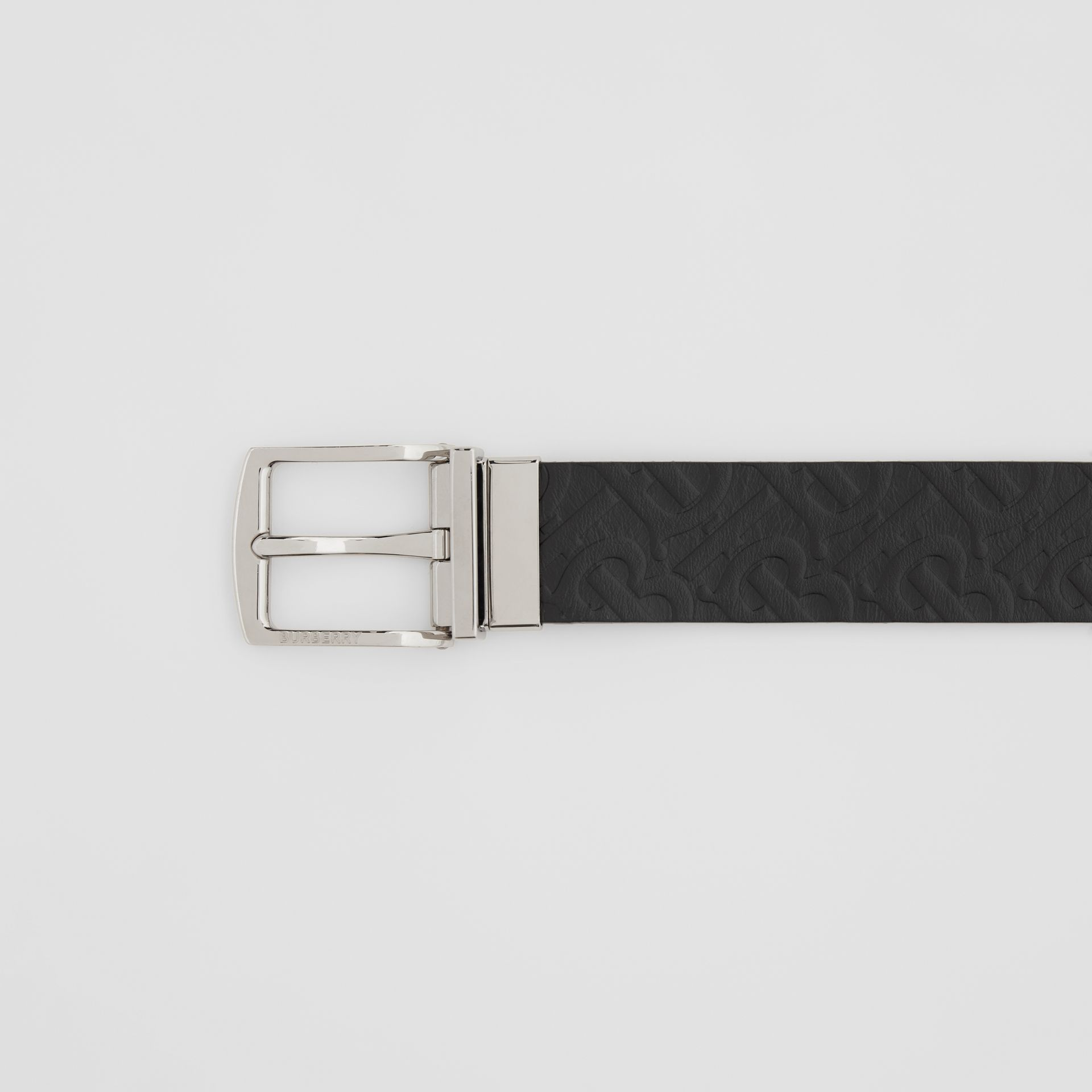 Reversible Monogram Leather Belt in Black - Men | Burberry - gallery image 1