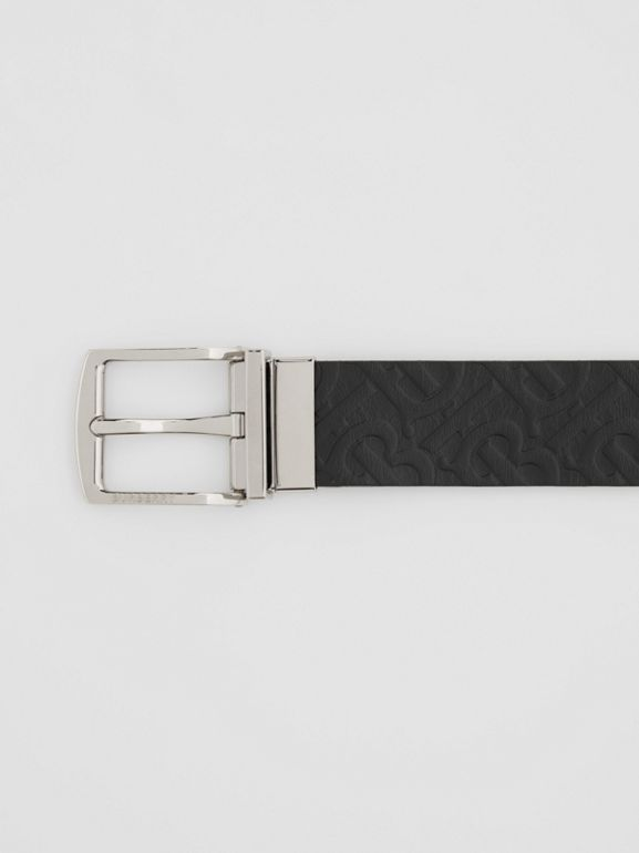 Reversible Monogram Leather Belt in Black - Men | Burberry United Kingdom - cell image 1