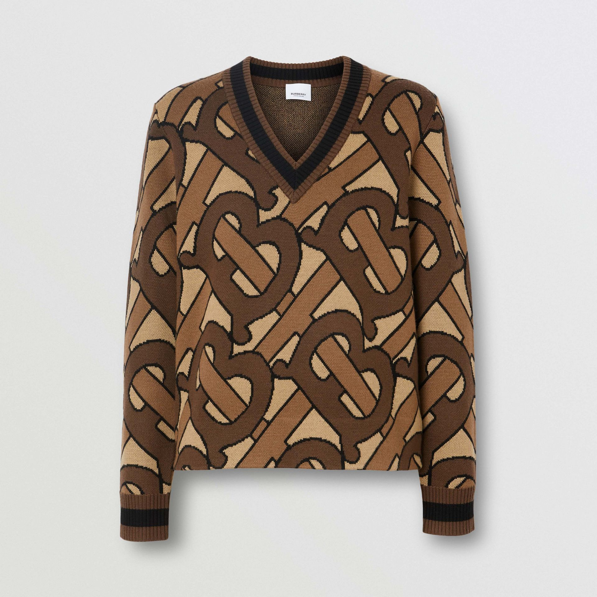 Monogram Intarsia Wool V-neck Sweater in Bridle Brown - Women | Burberry - gallery image 3