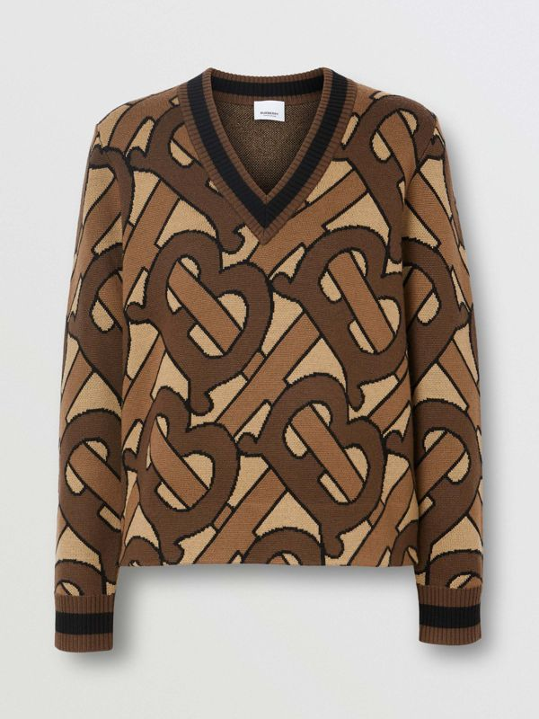 Monogram Intarsia Wool V-neck Sweater in Bridle Brown - Women | Burberry - cell image 3