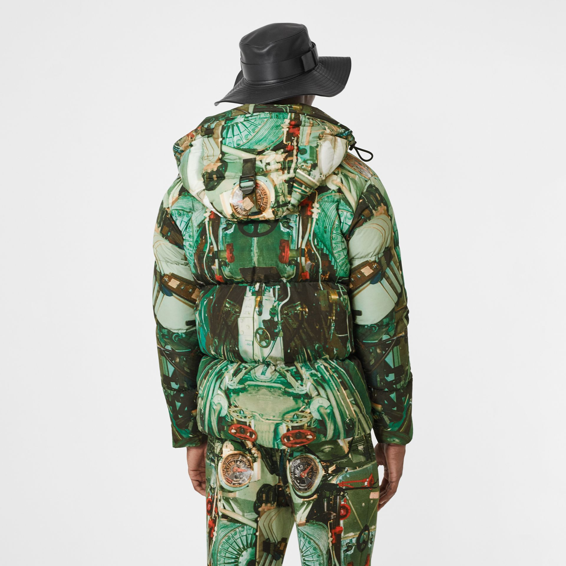 Submarine Print Puffer Jacket in Celadon Green - Men | Burberry United Kingdom - gallery image 2