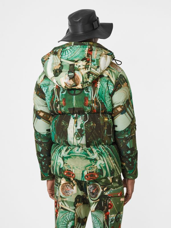 Submarine Print Puffer Jacket in Celadon Green - Men | Burberry United Kingdom - cell image 2