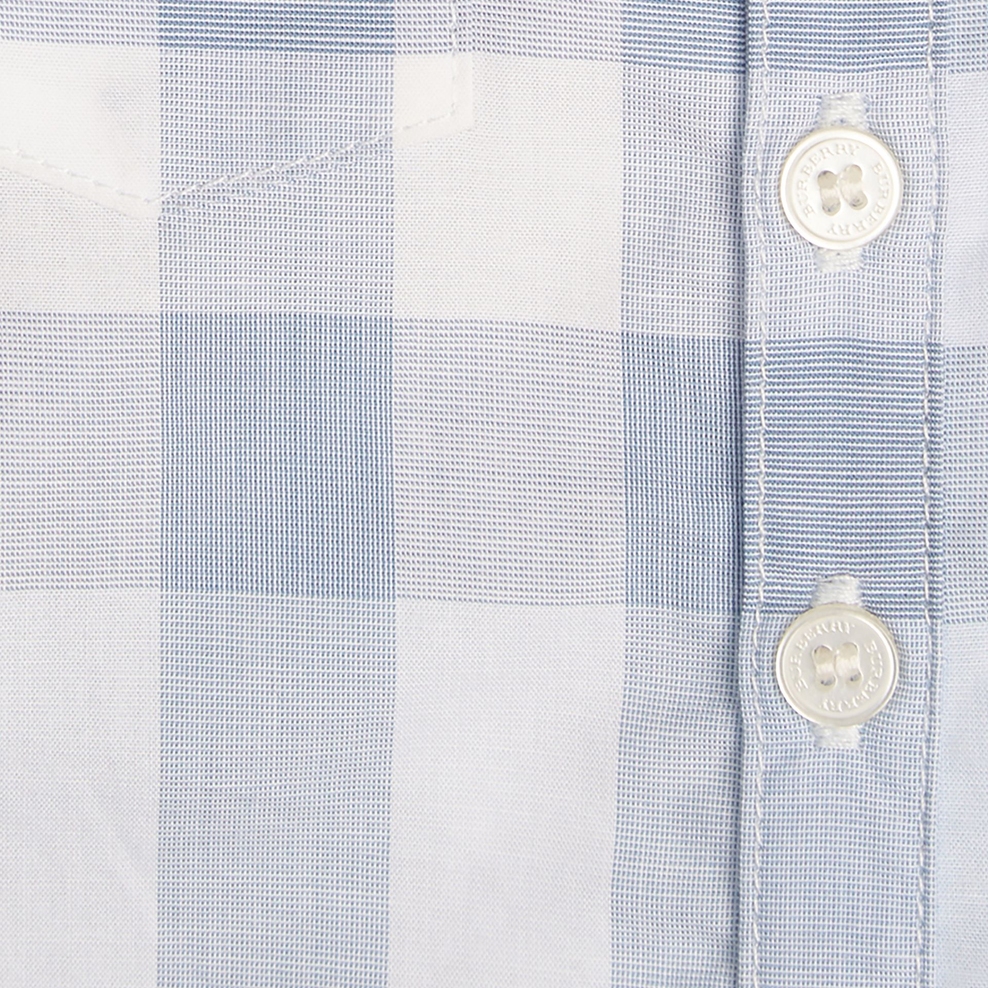 Ice blue Check Cotton Playsuit Ice Blue - gallery image 2