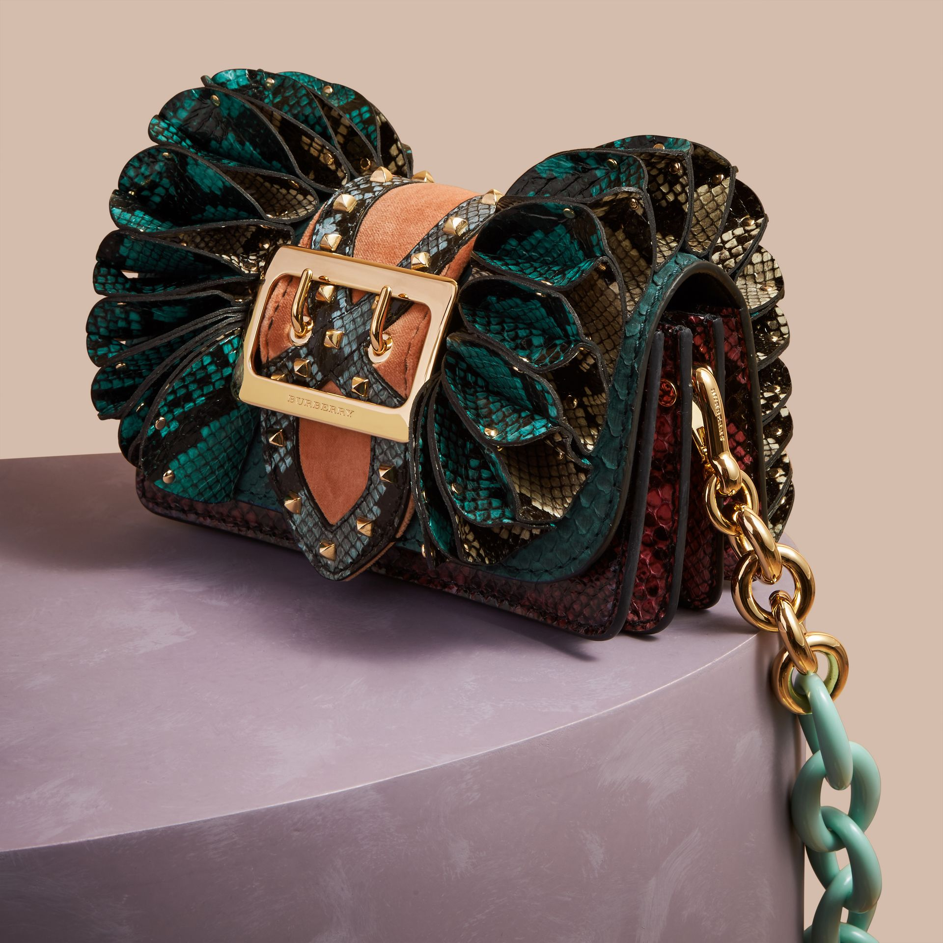 Teal The Ruffle Buckle Bag in Snakeskin and Velvet - gallery image 7