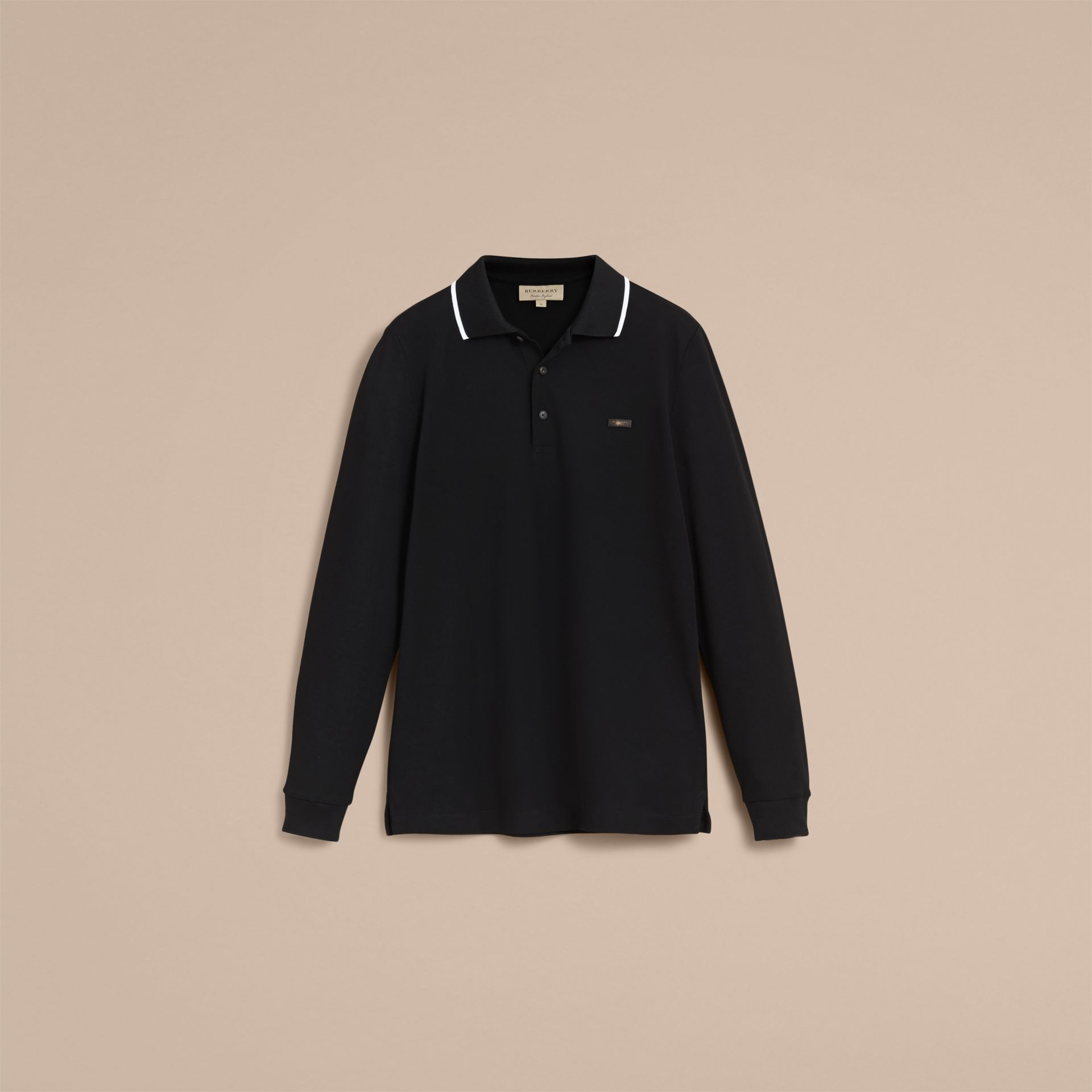 Long-sleeved Tipped Cotton Piqué Polo Shirt Black - gallery image 4