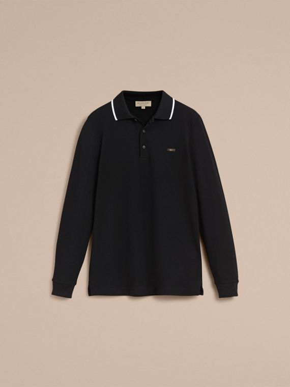 Long-sleeved Tipped Cotton Piqué Polo Shirt Black - cell image 3