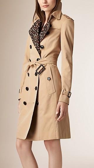 Leopard Detail Cotton Gabardine Trench Coat