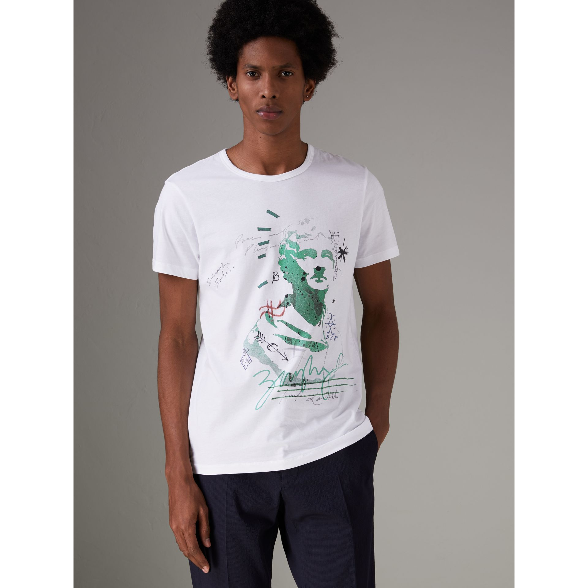 Bust Print Mélange Cotton T-shirt in White - Men | Burberry Singapore - gallery image 0