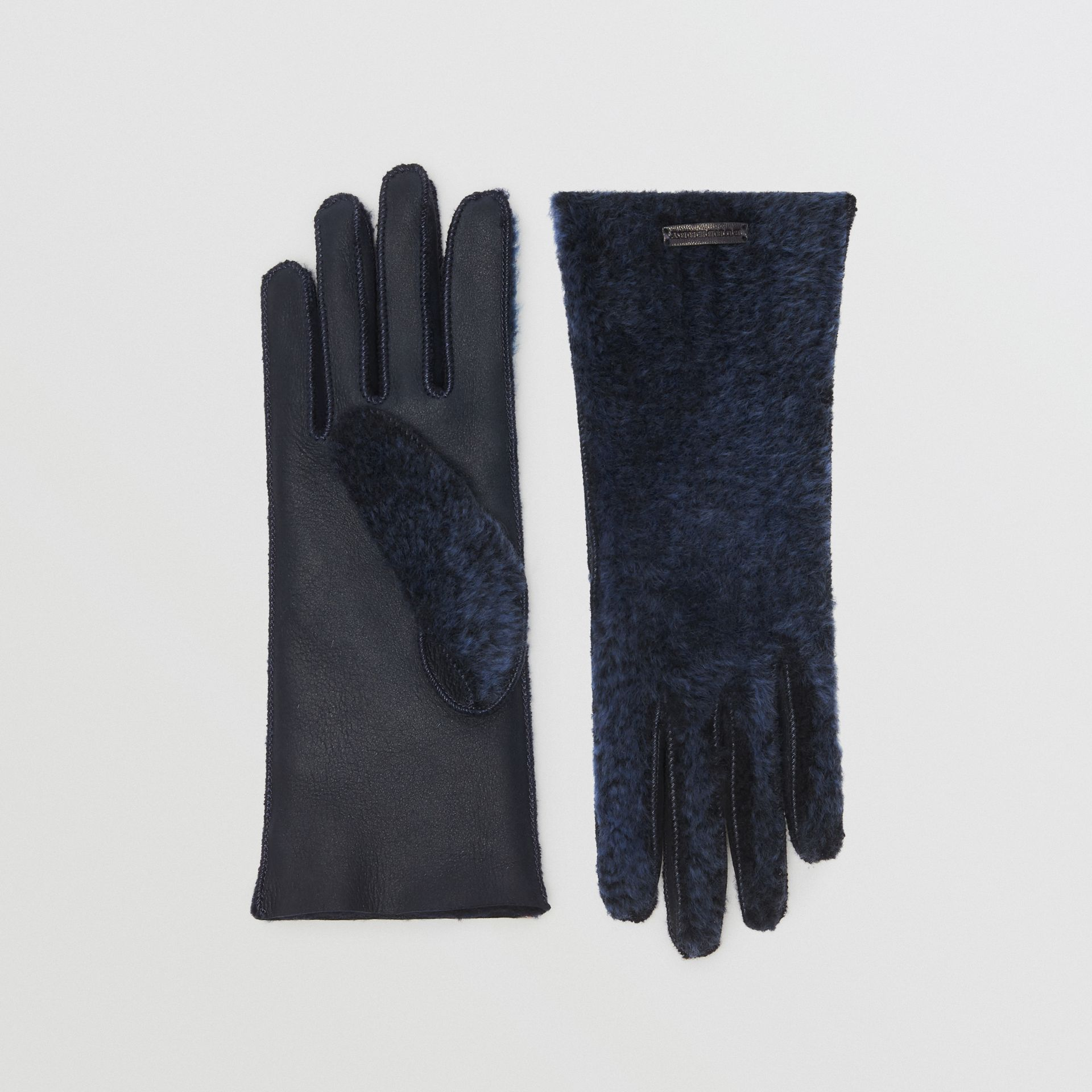 Shearling and Leather Gloves in Navy - Women | Burberry - gallery image 0