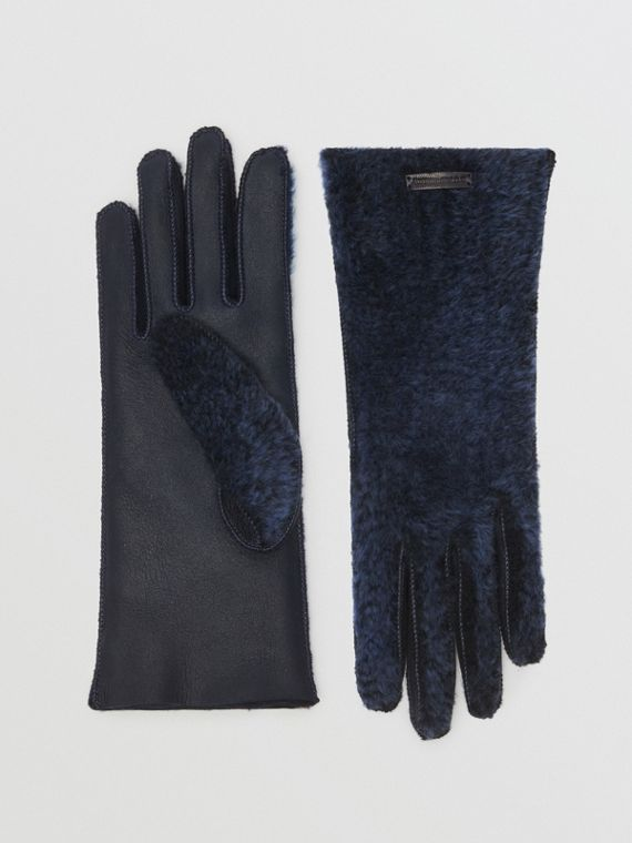 Shearling and Leather Gloves in Navy