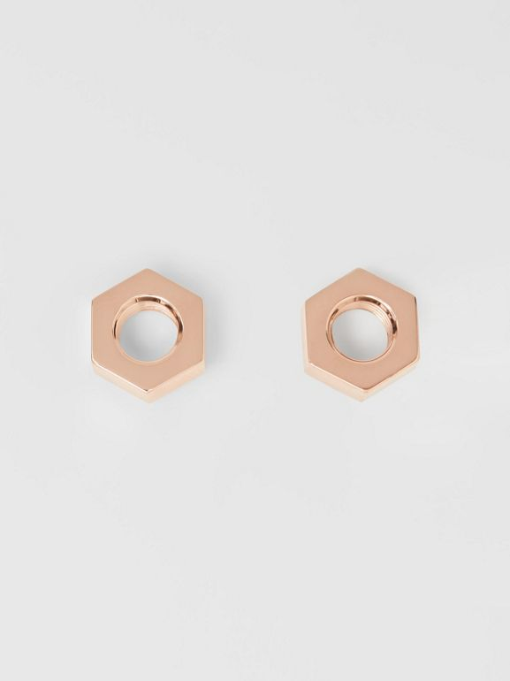 Rose Gold-plated Nut Earrings - Women | Burberry - cell image 1
