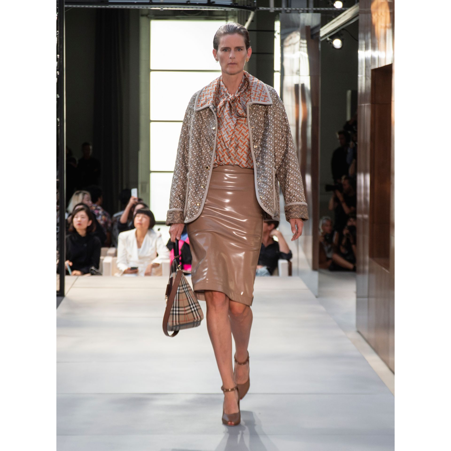 Vinyl Pencil Skirt in Utility Beige - Women | Burberry - gallery image 7