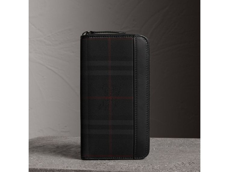 Horseferry Check Ziparound Wallet in Charcoal/black - Men | Burberry - cell image 4