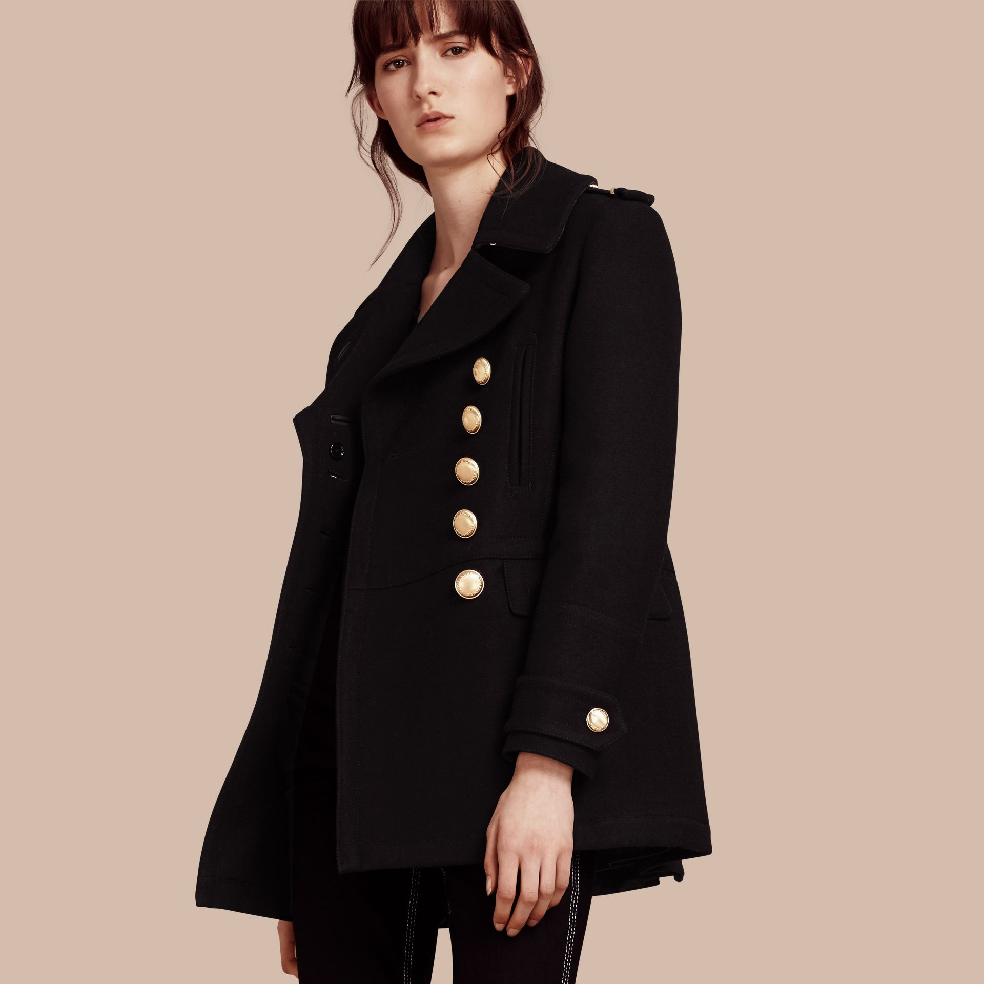 Black Wool Blend Military Pea Coat - gallery image 1