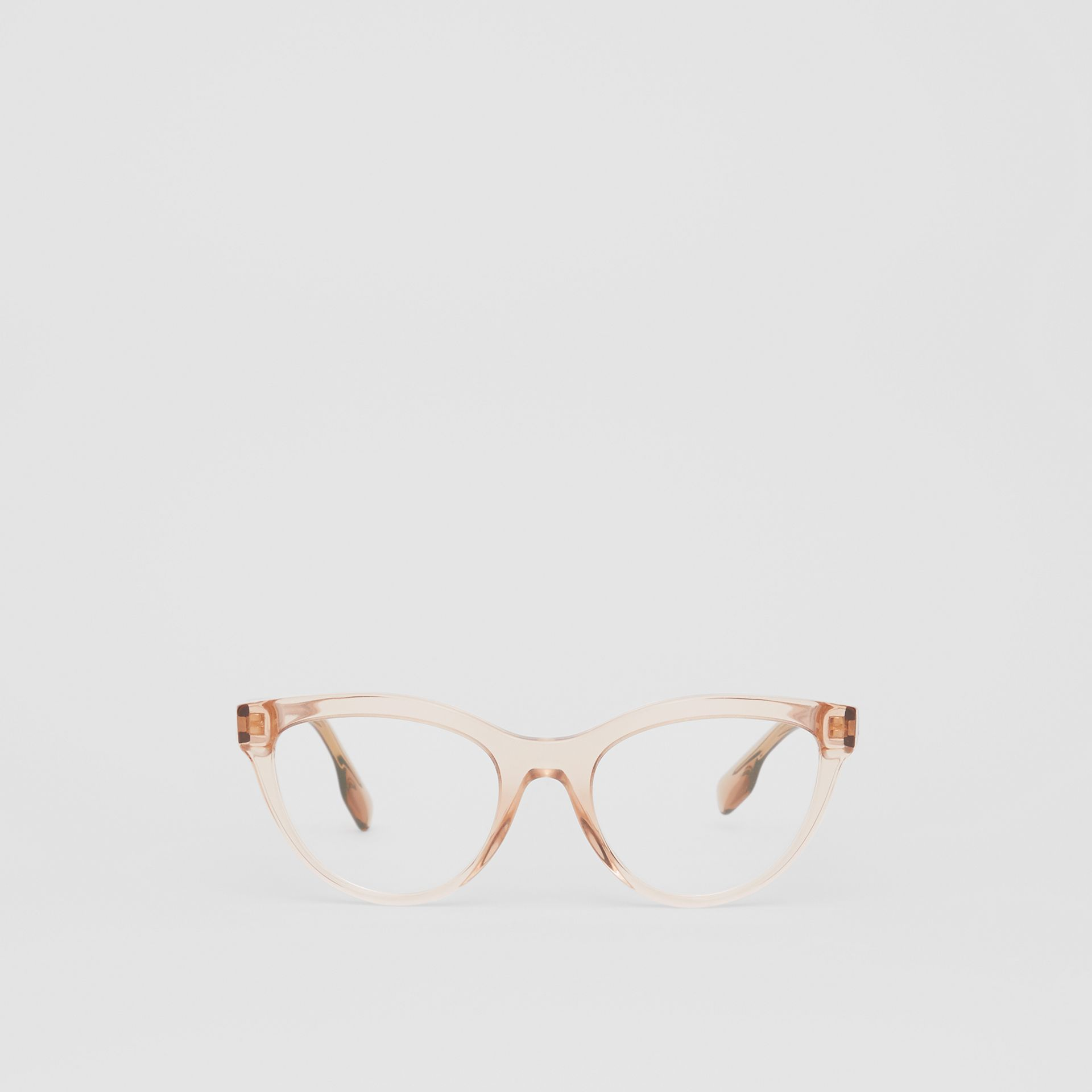 Monogram Motif Cat-eye Optical Frames in Transparent Peach - Women | Burberry - gallery image 0