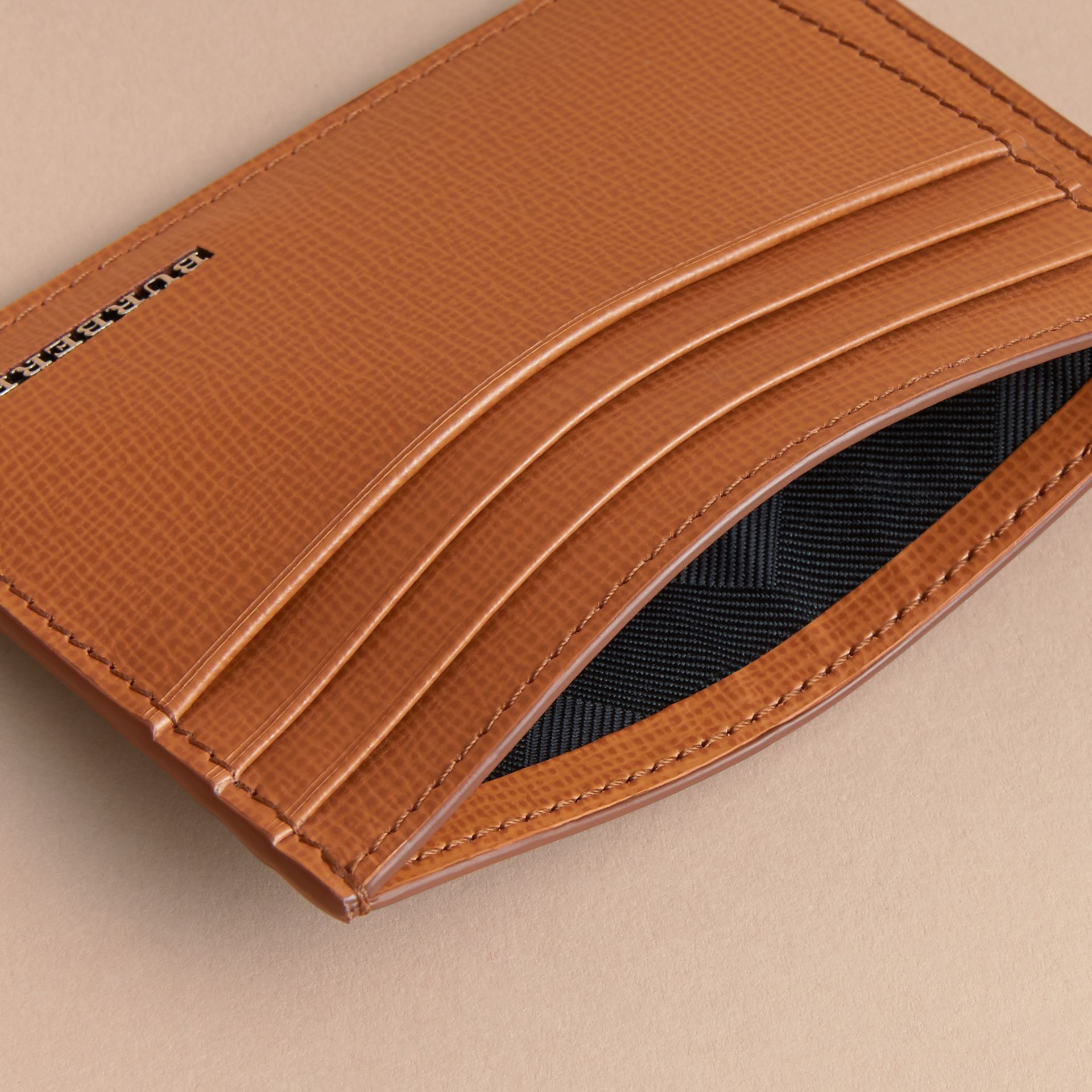 London Leather Card Case in Tan | Burberry Australia - gallery image 4