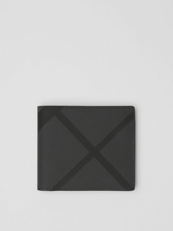 London Check and Leather International Bifold Wallet in Charcoal/black